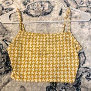 Yellow Houndstooth Cropped Tank